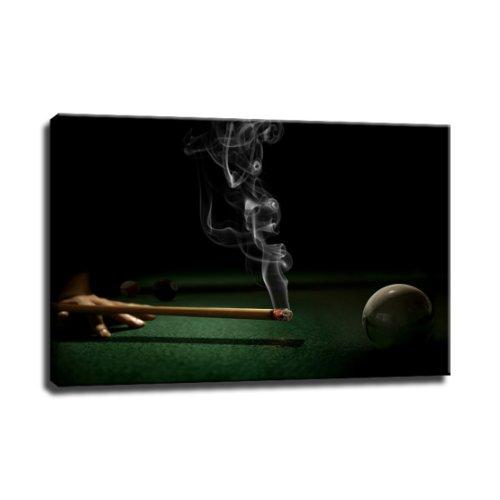 billiard Bild auf Leinwand - 100 x 70 cm - Fertig gerahmte Kunstdruck Bilder als Wandbild - Billiger als Ölbild Gemälde - KEIN Poster oder Plakat
