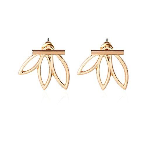 SZXCX 1572 Personalidad Moda Simple Pendientes de Loto ahuecados Pendientes creativos para Mujer Pendientes Oro Rosa