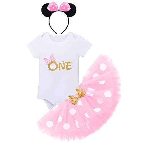 FYMNSI Baby Mädchen Erste 1. Geburtstag Outfit Minnie Maus Kostüm Baumwolle Kurzarm Strampler Body Gepunktet Tütü Tüll Rock Ohr Stirnband 3tlg Bekleidungsset Foto Requisiten Rosa One 1 Jahr