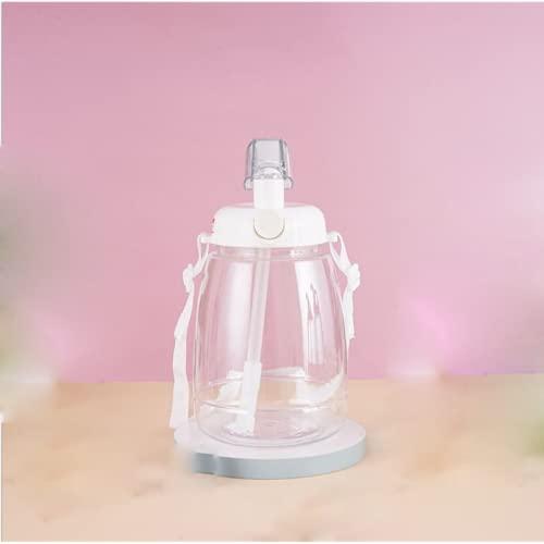 YIXINYOUPIN Taza de agua deportiva, botella de paja de gran capacidad, taza de agua para niños con pajita y correa adecuada para gimnasio, fitness, yoga, correr, escuela y camping blanco