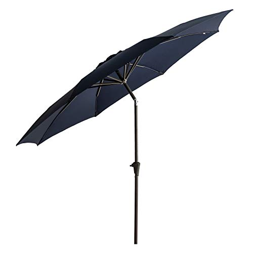 C-Hopetree 11 ft Diameter Outdoor Patio Table Market Umbrella with Push Button Tilt, Navy Blue