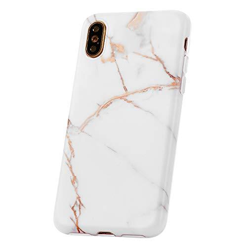 QULT Bumper Compatible pour Coque iPhone XS, Coque iPhone X marbre Blanc Matte Siliconee Etui Flexible Case TPU Cover pour iPhone X/XS Marbre White