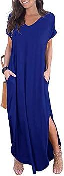 Grecerelle Women's Short Sleeve Split Maxi Dresses