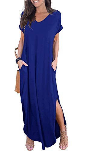 GRECERELLE Solid V-Neck Pocket Loose Maxi Dress Royal Blue XX-Large
