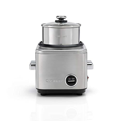 CUISINART CRC400E Arrocera multifunción para 6 personas con bandeja de acero inox para pescado, carne y verduras al vapor, función mantener el calor, tapa vidrio transparente, 450 W