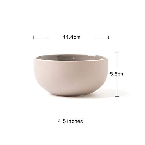 YYF Vaisselle en céramique simple bol de riz/bol à nouilles/bol à soupe/bol plat 4,5 pouces (Color : Warm gray)