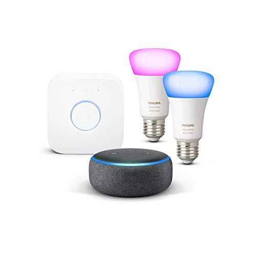 Echo Dot (3e génération), Tissu anthracite + Kit de démarrage Philips Hue...