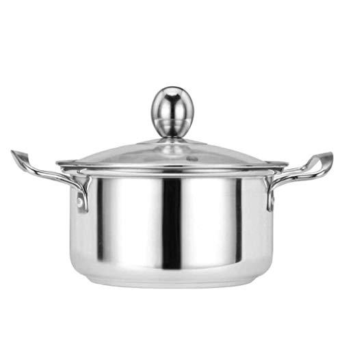 YWSZJ Casserole Pot avec couvercle, Séjour Poignées de Cool cuisine en acier inoxydable Marmites Batterie de cuisine Pot
