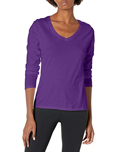 Hanes Women's V-Neck Long Sleeve Tee, Violet Splendor, X-Large