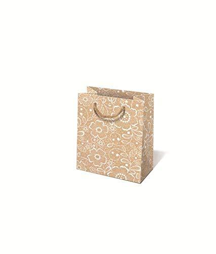 Idena 30247 - Sacchetto Regalo con Fiori, 11,5 x 6 x 16 cm, Mix FSC, Fiori, Borsa per Il Trasporto, Regalo, Confezione Regalo