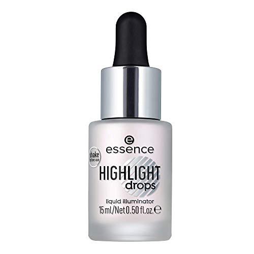 essence highlight drops liquid illuminator, Highlighter, Nr. 10 silver lining, weiss, langanhaltend, strahlend frisch, strahlend, schimmernd, vegan, Nanopartikel frei, ölfrei (15ml)