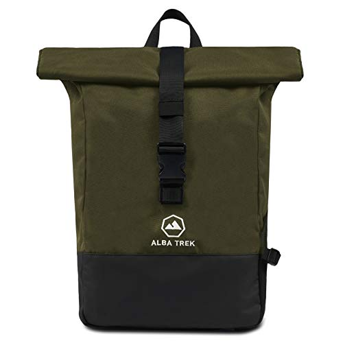 Alba Trek Rucksack Rolltop (grün) mit 15,6 Zoll Laptoptasche Wasserabweisend...