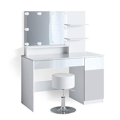 Vicco Schminktisch Frisiertisch Schminkkommode Elisa mit Spiegel Frisierkommode (+Hocker & LED)