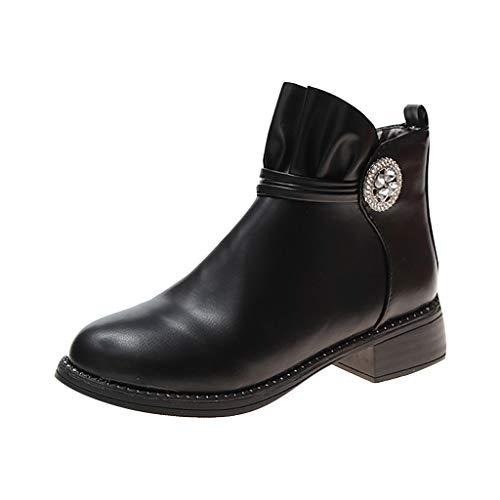 friendGG Stiefel Chelsea Boots Stiefeletten Damen Kurzschaft Leder mit Absatz Kurze Reissverschluss...