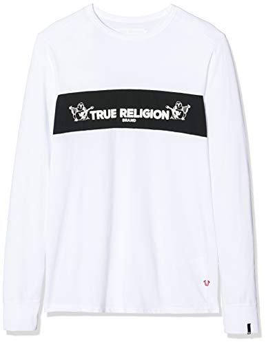 True Religion Herren Crew LS TR Langarmshirt, Weiß (White 1700), Large (Herstellergröße: L)