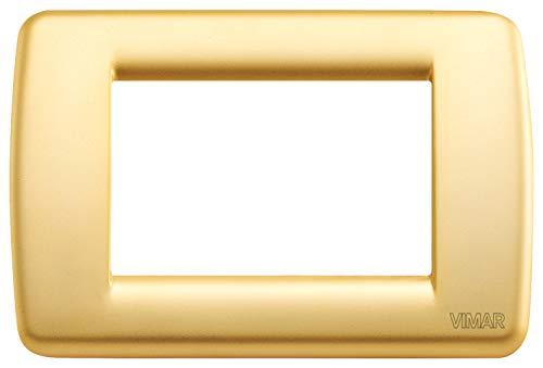 Vimar 16753.33 Idea Placca Elettrica Rondò 3 Moduli, Metallo pressofuso, Oro Opaco