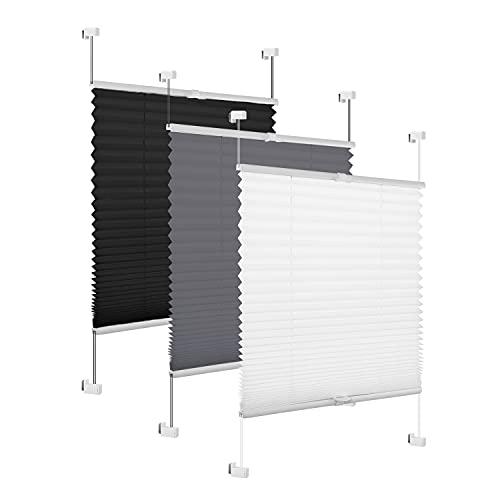 Eurohome Plissee Weiß 75x200cm klemmfix ohne Bohren für Fenster