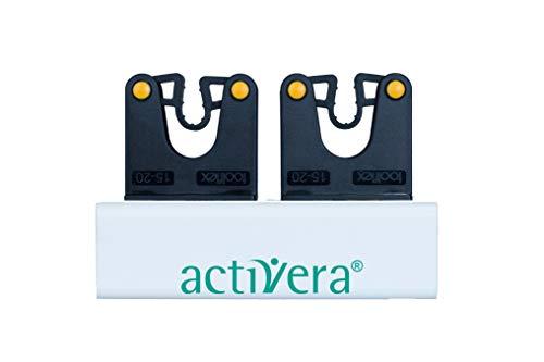 activera® Betthalterung als Klemmprofil für Gehstützen Halterung mit 2 Toolflex Halter für die Aufnahme von 2 Unterarmgehstützen mit D=15-20mm