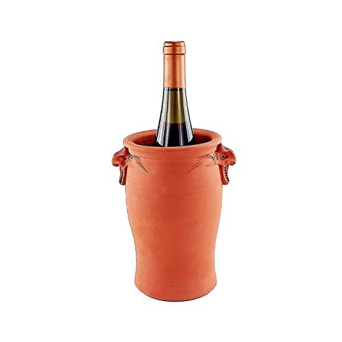 Palatina Werkstatt Esclusivo e fatto a mano, refrigeratore per bottiglie di champagne in vera terracotta, prodotto di qualità, funzionale e molto decorativo