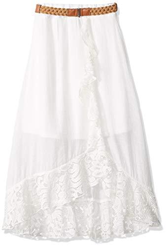 Amy Byer Girls' Ruffle Front Maxi Skirt, Ivory, M