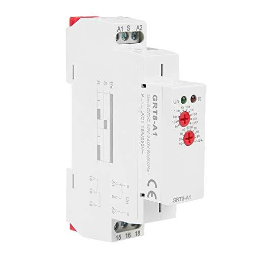 Relé temporizador, relé de tiempo de retardo de potencia mini Tipo de riel DIN Grt8-A1 Mini potencia Ac/Dc 12V ~ 240V con certificado Ce Cb (Grt8-A1, A230) instalado en riel DIN de 35Mm.