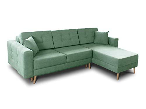 Ecksofa Porto - Sofa, Eckcouch, Couch mit Schlaffunktion und Bettkasten, L-Form, Schlafsofa mit Stoffbezug, Bettsofa, Skandinavisch Polstergarnitur (Grün (Soro 34))