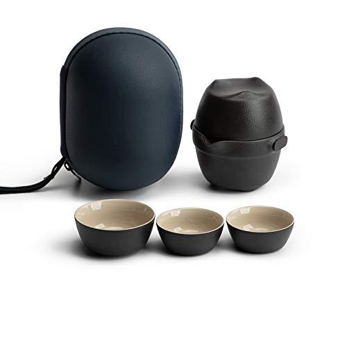 Marceooselm Mini Viaje de cerámica Juego de té pequeño Conjunto de la Tetera Portable Simple con Filtro