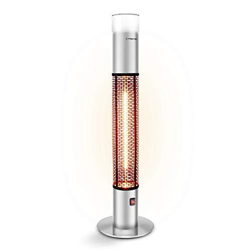 TROTEC IRS 1500 E Terrassen Heizstrahler Infrarotheizer 1.500 Watt, LED-Element in 16 Farben und mit 4 Lichteffekten, dimmbares LED-Element, IP55, inkl. Fernbedienung