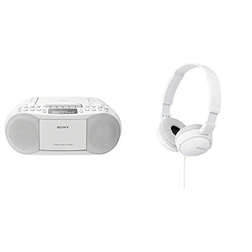 Sony CFD-S70 Boombox (CD, Kasette, Radio) weiß & MDR-ZX110/WC(AE) Faltbarer Bügelkopfhörer, weiß