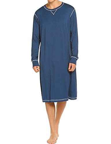Ekouaer Plus Size Night Gown Mens Long Sleeve Nightwear Henley Sleep Shirts (Blue,XXL)