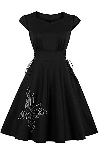 MisShow Damen Halloween Kleider V Ausschnitt Faltenrock Rockabilly Petticoat Kleider Cocktailkleider...