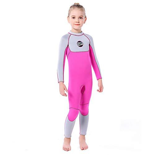GRDRP Trajes de Neopreno para niños, Trajes completos Cremallera en la Espalda cálida Manga Larga 3Mm Surf Snorkel Pesca Buceo Trajes de baño Mantener la Espalda Abrigada para Deportes acuáticos,L
