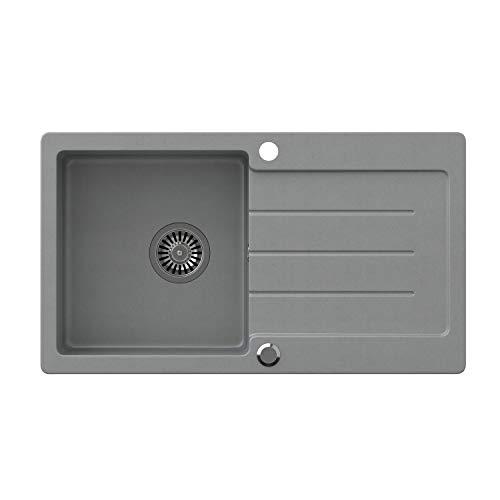 VBChome Spüle Grau 77 x 44 cm Granit Einzelbecken Einbauspüle gesprenkelt reversibel Verbundspüle + Siphon Waschbecken