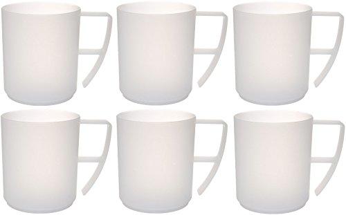 boutique de sortie regarder en soldes idea-station Neo Verres Plastique 6 pièces, 350 ML, Clair, réutilisables,  incassable, poignée, Tasse a café, thé, gobelet, Verre, Tasse en Plastique,  ...