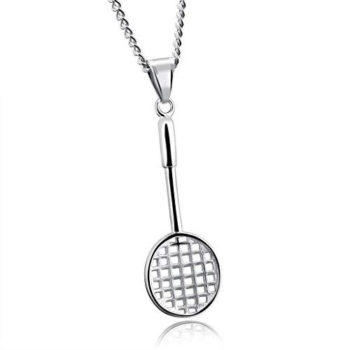 KIMSAI Mini Badminton schläger Halskette Fitness Sport zubehör Edelstahl schmuck Herren Titanium Stahl anhänger persönlichkeit Mode Wilde Halskette,Silver