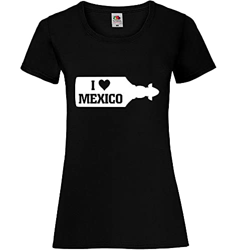 I Love Mexico Sierra Tequila Flasche Frauen Lady-Fit T-Shirt Schwarz S - shirt84.de