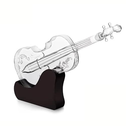 DKBE Karaff, hantverksflaska fiol avancerad whiskyfiolkaraff, för whisky, skotsk, sprit, vin eller vodka för musikälskare