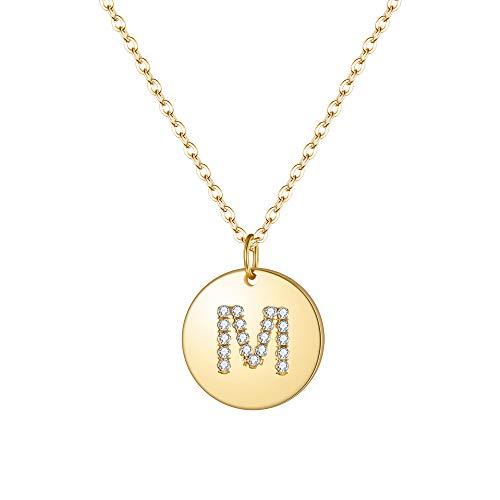 Collar de Mujer, Clearine Collar de Plata 925 Gargantilla Redondo Estilo Minimalista con Letra M Zirconia Colgante Tono Dorado