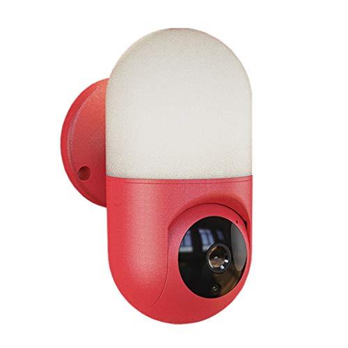 ZZSJC Cámara IP de Interior, la cámara del Bulbo, Cámara de Seguridad, WiFi 1080P la cámara, detección de Movimiento, Audio bidireccional, visión Nocturna (Color : Red)