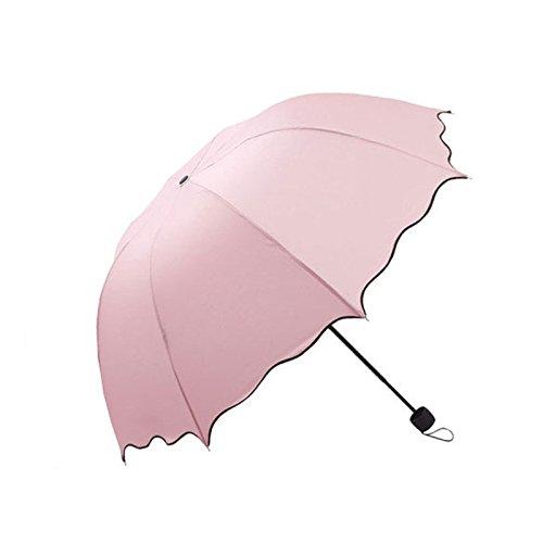 DaDago Honana Hn-Ku5 Multicolor Flouncing Dome Parasol Falten Regenwanne Für Lady Girls - Rosa