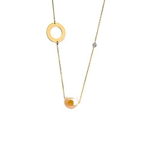 Lumarigold Gouden dameshalsketting 585 14 k goud geelgoud ketting met hanger cirkel zoete waterparel briljant gravure
