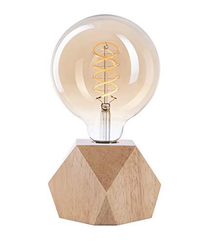 CROWN LED Tischlampe Vintage Batteriebetrieben - Design Tischleuchte aus Holz Farbe Eiche hell E27 Fassung inkl. Retro Edison LED Glühbirne EL20