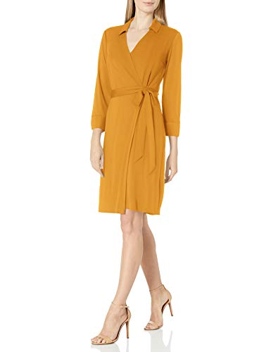 Amazon Brand - Lark & Ro Women's Matte Jersey Collared V-Neck Long Sleeve Wrap Dress, Chai Tea, XL