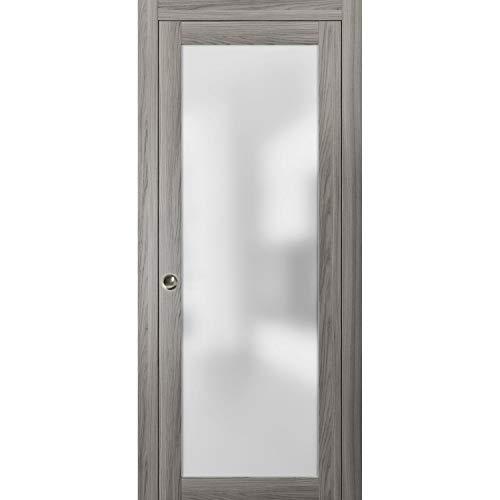 Modern Sliding Pocket Door 28 x 80 inches | Planum 2102 Ginger Ash | Pocket Frame Trims Pulls Track Hardware Set | Solid Wood Interior Slide Closet Door