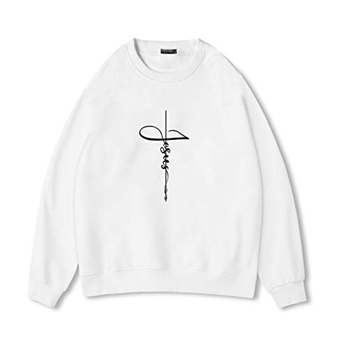 TWEIYI Pullover Felpa Moda Jesus Cross Faith Casual Felpa Femmes Christian Felpe Faith Donna Youth Femmina Creativee Taglie Forti