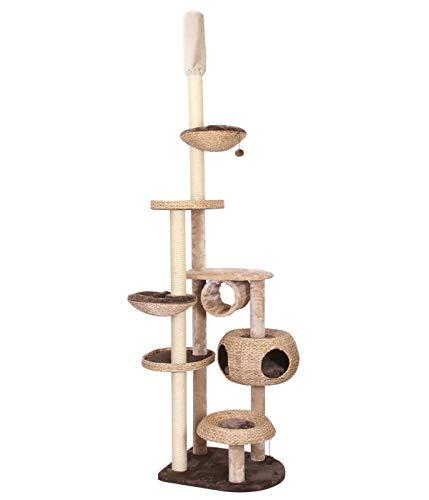 Dehner Katzen-Kratzbaum Liv, ca. 272 x 68 x 56 cm, Sisal/Plüsch, braun/weiß