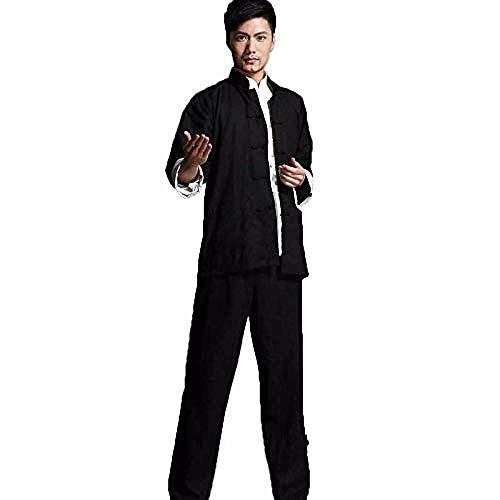 Ropa De Taijiquan Práctica Bruce Lee Vintage Chino Wing Chun Kung Fu Uniforme Algodón Seda Artes Marciales Disfraces De Tai Chi Ropa Tradicional De Tai Chi para Su Ejercicio De Tai Chi,Black-XXXL