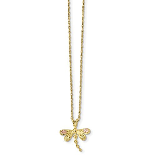 10k Tri Color Black Hills Gold Dragonfly Chain Necklace Pendant Charm Animals/insect Fine Jewelry For Women Gifts For Her