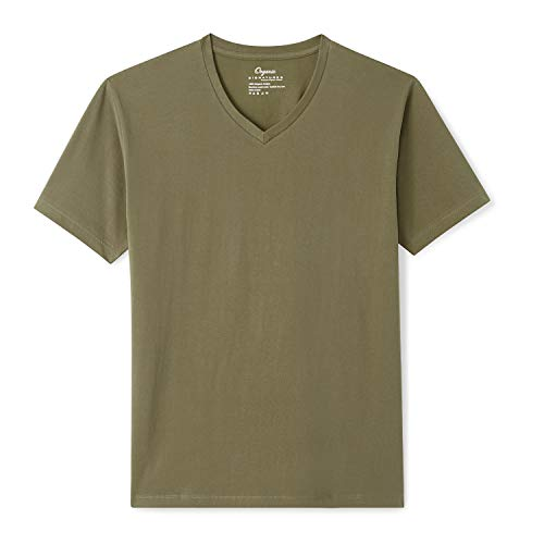 Organic Signatures Men's Short-Sleeve V-Neck 100% Organic Cotton T-Shirt (Large, Olive)