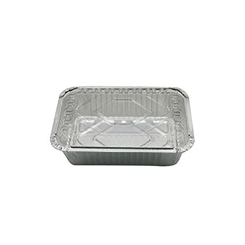 JIJK 10 bandejas de aluminio robustas de papel de aluminio para asar y hornear, cocinar, barbacoa y almacenamiento de alimentos – Contenedores de preparación de comidas para barbacoa
